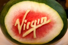 Cat Cora sculpted the Virgin logo into a watermelon for our flagship SFO-DCA flight on August 14.