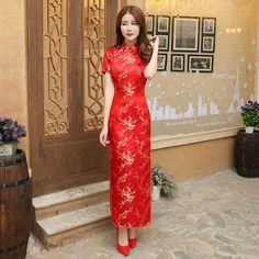 Red Chinese Women Dress Vintage Satin Qipao Sexy Long Slim Cheongsam Hot Sale Flower Dress Size S M XL XXL 3X4XL 5XL 6XL JA13 #Affiliate