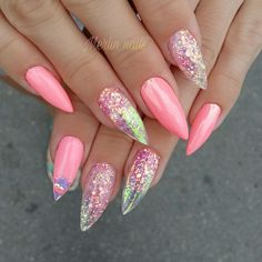 #gel #gelnails #nail #nails #nailstagram #nailsofinstagram #notpolish #manicure #artnails #fashionnails #nailart #nailswag #instanails #nailporn #nokti #glassnails #glitternails #pointynails #pointynails #pinknails #pink #summernails #summer