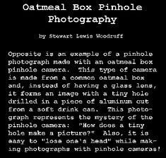 Oatmeal Box Pinhole Photography by Stew Woodruff - How to Make and Take Pictures With Pinhole Cameras Made from Oatmeal Boxes