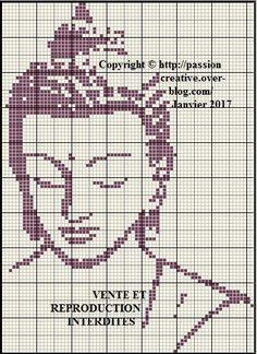 Grille gratuite point de croix : Bouddha pensif 1 - Passion creative