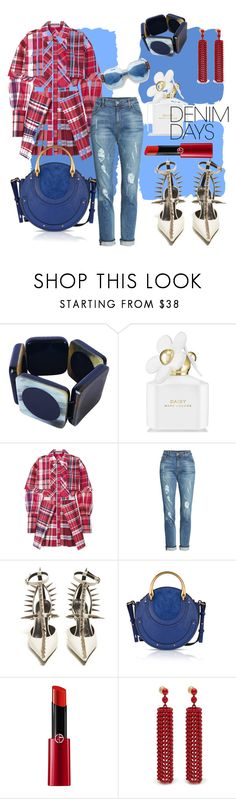"""""""#Dominate Demin"""" by charity-blossom on Polyvore featuring Blue Squares, Marni, Marc Jacobs, Alexander McQueen, KUT from the Kloth, Balenciaga, Chloé, Giorgio Armani and Mulberry"""