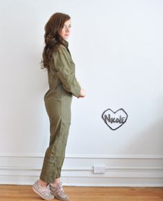 army green jumpsuit . military parachuter .extra small.xs by DOTTO