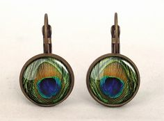 Peacock Eye Earrings Photo Jewelry Unique Gift Under 10