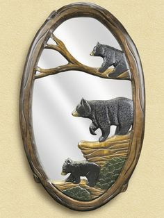 Three Black Bears Wooden Mirror - American Expedition
