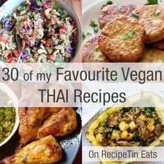 Amazing & healthy Thai recipes (even for non-vegans!) -- collection of 30 Favorite Vegan Thai Recipes Thai Recipes, Veggie Recipes, Asian Recipes, Whole Food Recipes, Vegetarian Recipes, Cooking Recipes, Keto Recipes, Recipetin Eats, Vegan Main Dishes