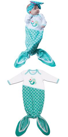 One-Pieces 163425: New Seafoam New Born Baby Mermaid Infant Outfit - One Size Fits Up To 15 Pounds -> BUY IT NOW ONLY: $30.96 on eBay!