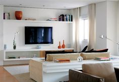 sala-decorada-com-home-theater-branco - Decoração de Casa