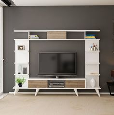 Here are amazing TV unit design ideas to make your living room decor beautiful. Bedroom Tv Unit Design, Living Room Tv Unit Designs, Tv In Bedroom, Master Bedroom, Living Room Decor Purple, Living Room Decor On A Budget, Living Room Stands, Tv Unit Decor, Tv Stand Designs