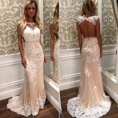 Champagne Evening Dress, Mermaid Evening Dress, Long Evening