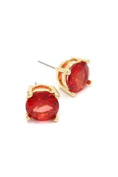 Persimmon Crystal Dot Earrings