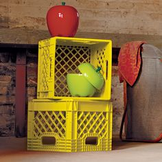 Shop Kids Milk Crate Storage.  While getting kids to drink their milk might not always be an easy task, storing their messes in these colorful milk crates will be a breeze.