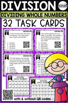 32 Dividing Whole Numbers Task Cards - includes everything you need to review division skills and strategies in the classroom. Perfect for review, Scoot game, math center, assessment tool, or test prep!  Math Skills Included:  •division groups  •division with remainders  •division stories  •division using mental math  •estimating quotients  •dividing 2 digit numbers  •division models This product is aligned to 4.NBT.6 and 4.OA.2