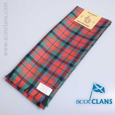 Pure wool scarf in MacNaughton Ancient tartan, available from ScotClans
