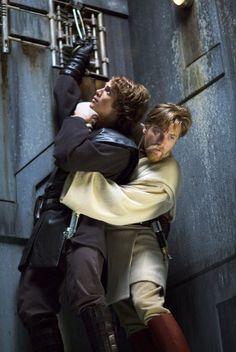 Ewan McGregor and Hayden Christensen in Star Wars III