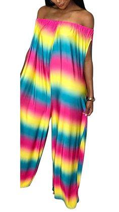 d0731c0c36cdc Lajiojio Womens Casual Plus Size Jumpsuits Off Shoulder Loose Wide Leg Long  Pants Jumpsuit Romper with Pockets S-3XL