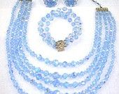 Something blue for the Bride -#Vintage Crystal Bead Necklace Bracelet & Earrings Demi Parure #Jewelry Set #VJSE2