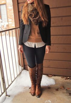 Exploring My Style blog. black blazer, camel crewneck sweater layered over a white button-up shirt, black leggings, cognac brown over the knee leather boots, leopard scarf, winter outfit, fall outfit