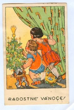 Old Czech Christmas Card Marie Fischerová Kvěchová 1944 Christmas Images, Christmas Art, Vintage Christmas, Christmas Ideas, Duck Toy, Girl And Dog, Kids Girls, Winter Wonderland, Beautiful Pictures