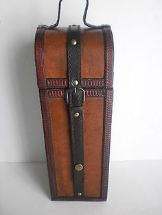"VINTAGE WOOD WINE BOX SINGLE RUSTIC LEATHER STORAGE CARRIER 16"" BUCKLE STRAP EUC"