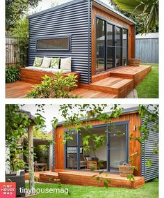 Prefab shipping container homes в 2019 г. backyard office, c Backyard Office, Backyard Studio, Backyard Sheds, Garden Office, Shed Design, Tiny House Design, Cabin Design, Studio Shed, Casas Containers