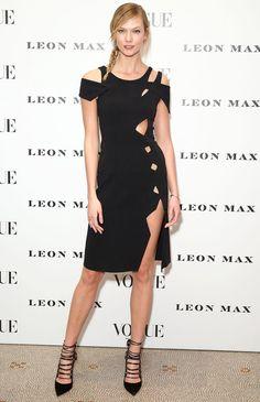 Karlie Kloss in a sexy cutout black Christopher Kane dress
