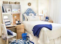 Dorm decor-this is brilliant! dorm room ideas & college tips Dorm Room Colors, College Dorm Rooms, College Tips, College Fun, Dorm Room Designs, Dorm Life, Dorm Decorations, Dorms Decor, Dorm Bedding