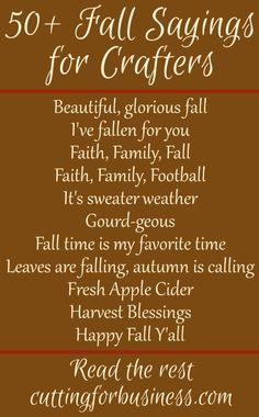 50+ Fall Sayings for Crafters - Perfect for Your Silhouette Cameo or Cricut crafting - by cuttingforbusiness.com