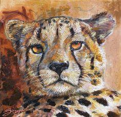 cheetha in generous texture impasto painting