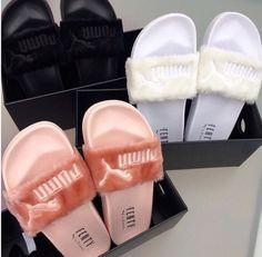 Puma X Rihanna Fenty Fur slides Shoe Boots, Shoes Sandals, Shoes Sneakers, Puma Sneakers, Sneakers Fashion, Fashion Shoes, Cute Shoes, Me Too Shoes, Sneaker Trend