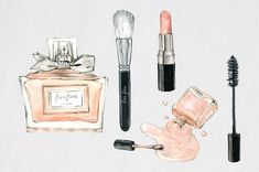 Watercolor Makeup ClipArt Beauty Set Cosmetic by froufroucraft