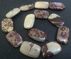 Picture Jasper Beads Semi Precious Gemstones 30x20mm by OzBeads