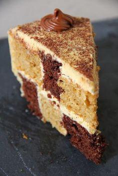 Coffee Chocolate Chequered Cake (eggless)