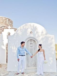Our real wedding of the week - whitewashed gorgeousness in the Greek Isles. Photos by Jason + Anna Photography.