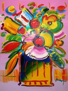 "PETER MAX ""FLOWER VASE"" ORIGINAL PAINTING SIGNED ACRYLIC ON CANVAS"