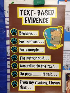 "Text-based evidence. Sentence frames. ""Our First Grade volunteer is absolutely wonderful!  She made one of these posters for each teacher."" This is awesome - maybe a parting gift for my Third grade mentor."