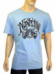 NEW LUCKY BRAND Graphic Nashville Guitar Short Sleeve Light Blue Tee Shirt 2XL $19.00