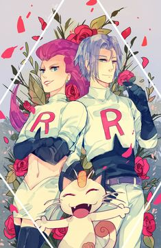 Jessie and James Pokemon Jessie And James, Team Rocket James, Equipe Rocket, Blue Lion, Movies Showing, Cute Pictures, Fan Art, Artwork, Anime