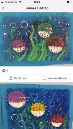 Kindergarten Art, Preschool Crafts, Under The Sea Crafts, Art For Kids, Crafts For Kids, Ocean Crafts, Toddler Art, Art Lessons Elementary, Art Classroom