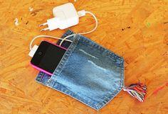 Porta-carregador de celular feito com jeans - Blog do Elo7.