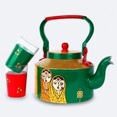 Handpainted Womanhood Themed  Metal Kettle And A Pair Of Glasses