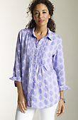 shirts > exotic-stamp-print linen shirt at J.Jill
