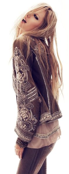 This embellished jacket is insane ~~ I love the dreamy neutral palette.  #boho #chic #style
