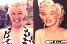 Marilyn Monroe before and after makeup - long before photoshop and light-diffusing foundation and skin primers etc etc . make-up is an art! Maquillage Marilyn Monroe, Marilyn Monroe Makeup, Marylin Monroe, Skin Makeup, Beauty Makeup, Hair Beauty, Make Up Looks, Beauty Secrets, Beauty Hacks