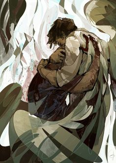 Destiel. Cas comforting Dean in Hell.