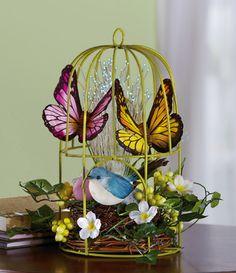 Fiber Optic Decorative Springtime Birdcage