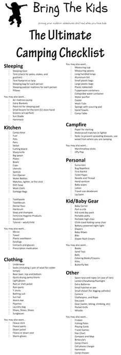 World Camping. Camping Tips And Ideas That Are Critical For Your Fun And Safety. The joys of camping! Camping is one of the best things a family, couple, or group of friends can experience. Camping is a great way to appreciate the outdo Camping 101, Logo Camping, Camping Mit Baby, Camping Checklist Family, Camping Glamping, Camping Supplies, Camping And Hiking, Camping With Kids, Family Camping