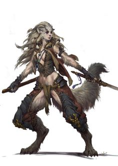 possible concept for a female tvigzi werewolf warrior. she would be a little less feline-like though