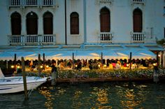 VENICE, ITALY- Evening dining by the water in Venezia