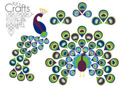 FREE peacock and stylized feather printables for DIY cards and other paper crafting projects - Kit's Crafts